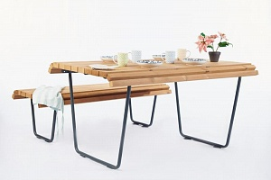 Set of 3 products «City life» (table, bench without backrest, bench with backrest)